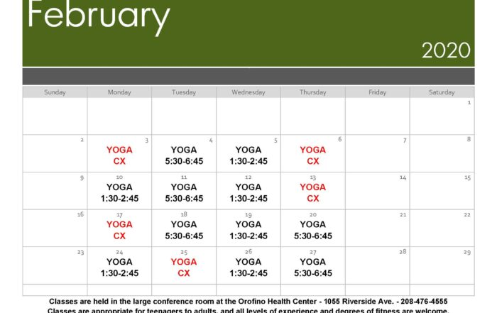February 2020 Yoga Schedule
