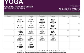 March Yoga Schedule