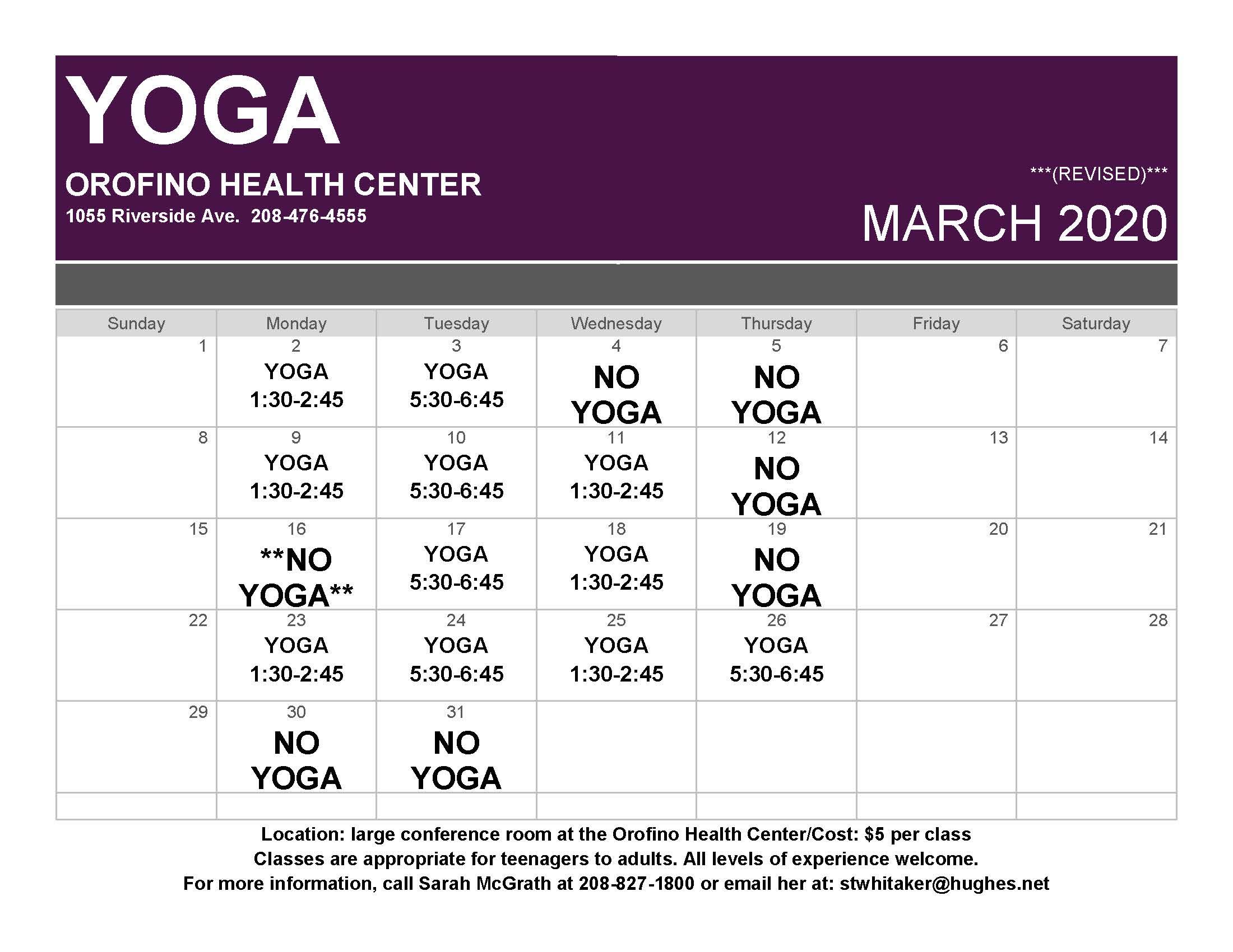 March Yoga Schedule