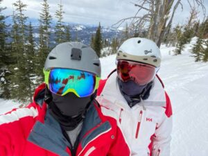 Dr. P & Vicky skiing